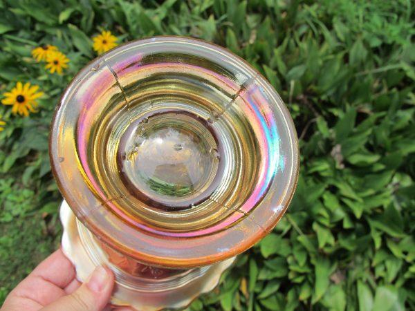 Antique Dugan Marigold Stork & Rushes Carnival Glass Punch Bowl & Base