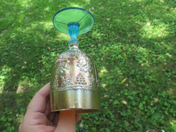 Antique Fenton Aqua Wine & Roses Carnival Glass Wine Goblet