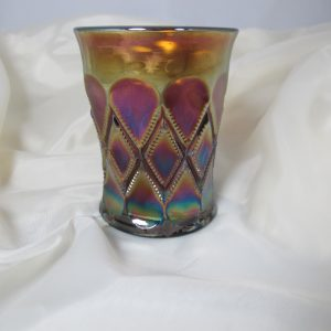 Antique Millersburg Amethyst Diamonds Carnival Glass Tumbler