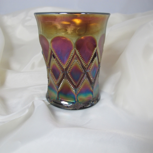 Antique Millersburg Amethyst Diamonds Carnival Glass Tumbler