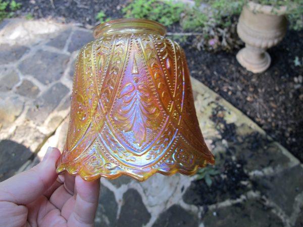 Antique Northwood Marigold Olympus Carnival Glass Lampshade