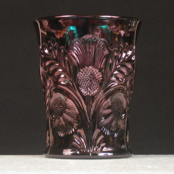 Mosser Green Inverted Thistle Carnival Glass Tumbler