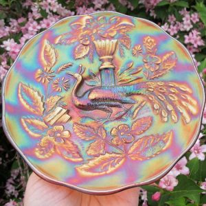 Antique Millersburg Amethyst Peacock Carnival Glass Plate