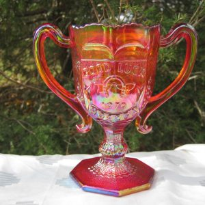 Fenton Red Good Luck Carnival Glass Loving Cup