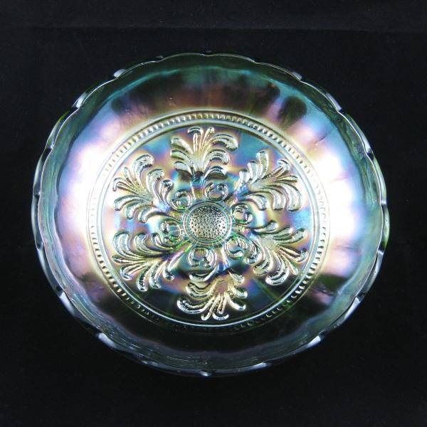 Antique Millersburg Green Mayan Carnival Glass Bowl