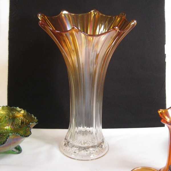 Antique Imperial Marigold Morning Glory w/Snowflake Carnival Glass Funeral Vase