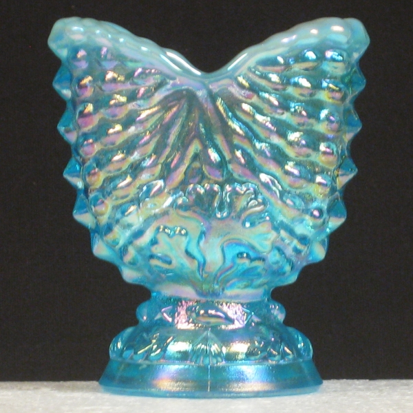 LG Wright Ice Blue Opal Nautilus Carnival Glass Toothpick Holder