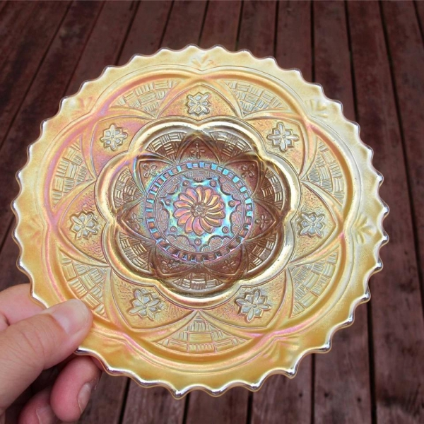 Antique Dugan Peach Opal Persian Garden Carnival Glass Plate
