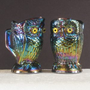 Summit Amethyst Owl Carnival Glass Cream & Sugar Set