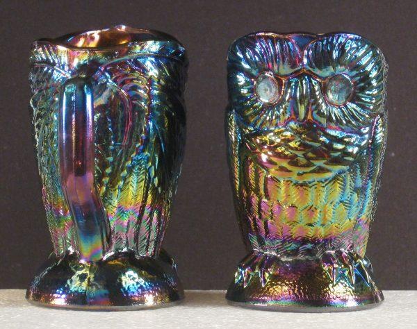 Summit Amethyst Owl Carnival Glass Cream & Sugar Set