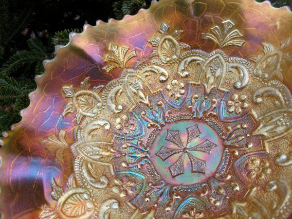 Antique Dugan Peach Opal Garden Path Variant Carnival Glass Bowl