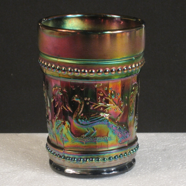 Antique Dugan Blue Peacock At The Fountain Carnival Glass Tumbler