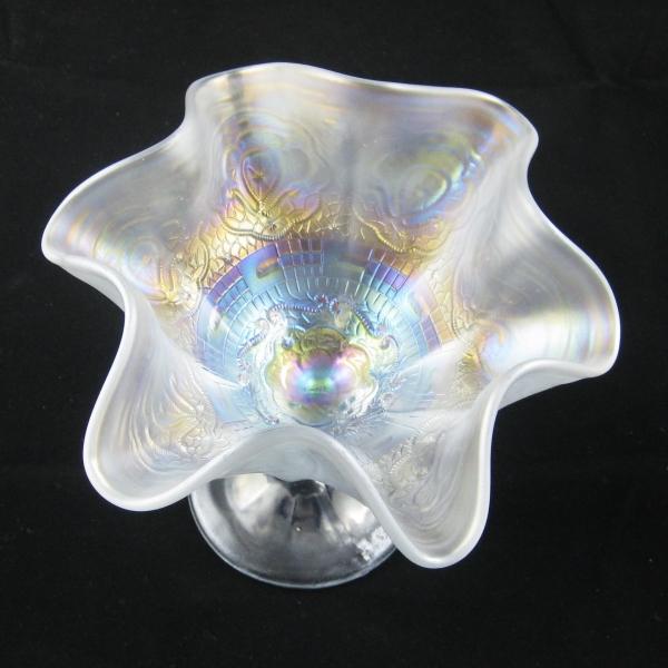 Antique Fenton Ice White Persian Medallion Carnival Glass Small Compote