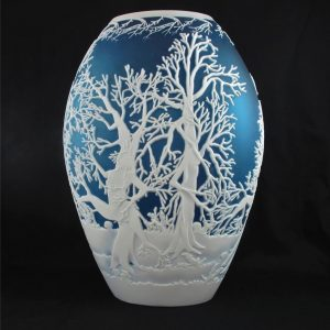 Kelsey Murphy Chris Carpenter Dryads Blue Art Cameo Glass Vase