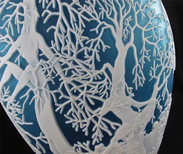 Kelsey Murphy Chris Carpenter Dryads Blue Art Cameo Glass Vase