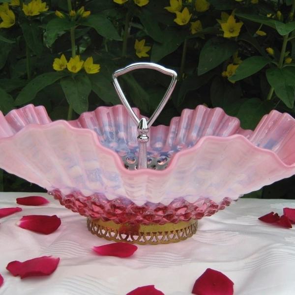 Antique Fenton Cranberry Opal Hobnail Opalescent Glass Tidbit Bowl