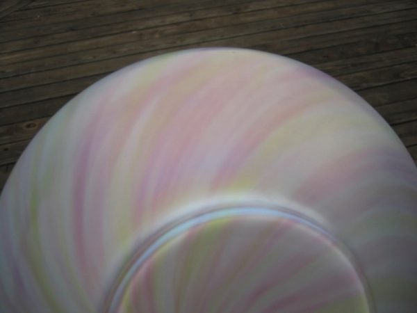 Antique Harrach Rainbow Sterling Silver Art Glass Bowl
