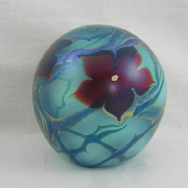 Vandermark Floral Iridescent Art Glass Paperweight
