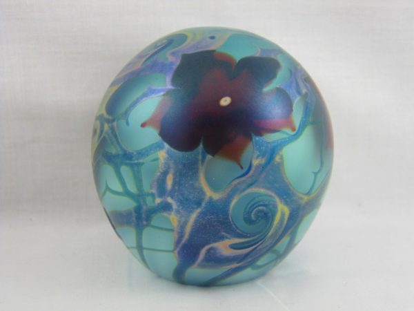 Vandermark Floral Iridescent Art Glass Paperweight