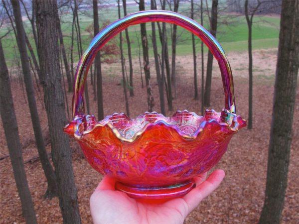 Fenton Red Persian Medallion Carnival Glass Ruffled Basket