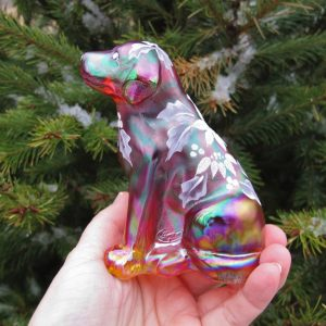 Fenton Red Labrador Retriever Dog Carnival Glass Paperweight