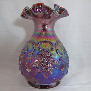 Fenton Red Rambler Rose Carnival Glass Vase