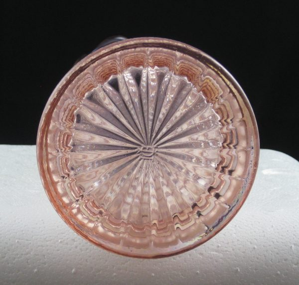 Imperial Pink Ripple Carnival Glass Swung Vase