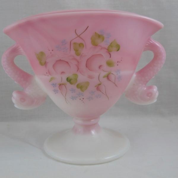 Fenton Dolphins Rosalene Pink Slag Enameled Art Glass Fan Vase