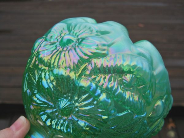 Fenton Green Opal Poppy Show Carnival Glass Crimped Rose Bowl