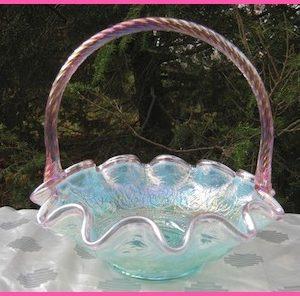 Fenton Pink Crested Aquamarine Persian Medallion Carnival Glass Ruffled Basket