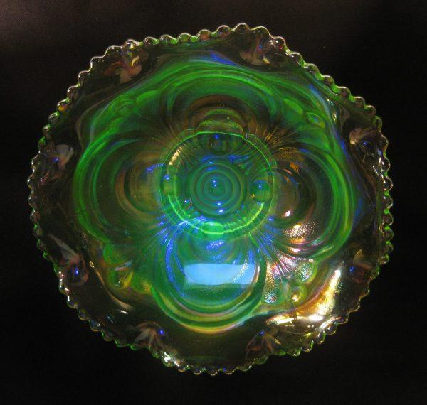 Summit Art Glass Vaseline Scroll Embossed Carnival Glass Bowl
