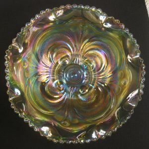 Summit Art Glass Vaseline Scroll Embossed Carnival Glass Bowl