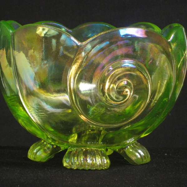 Summit Art Glass Vaseline Seashell Carnival Glass Small Bowl