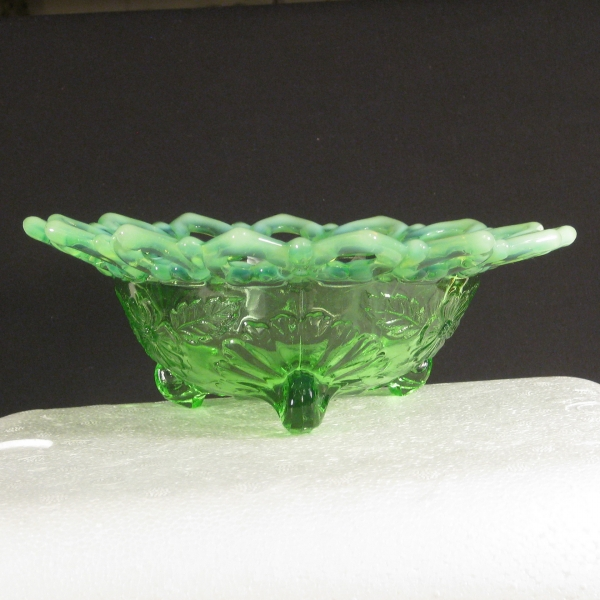 Antique Northwood Green Opal Shell & Wild Rose Opalescent Glass Candy Dish