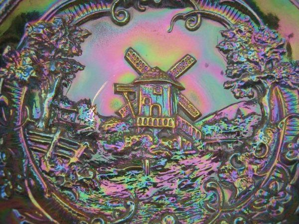 Imperial Smoke Windmill Carnival Glass 3n1 Bowl