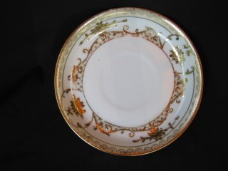 Antique Nippon Handpainted Gold Gilt Cup & Saucer