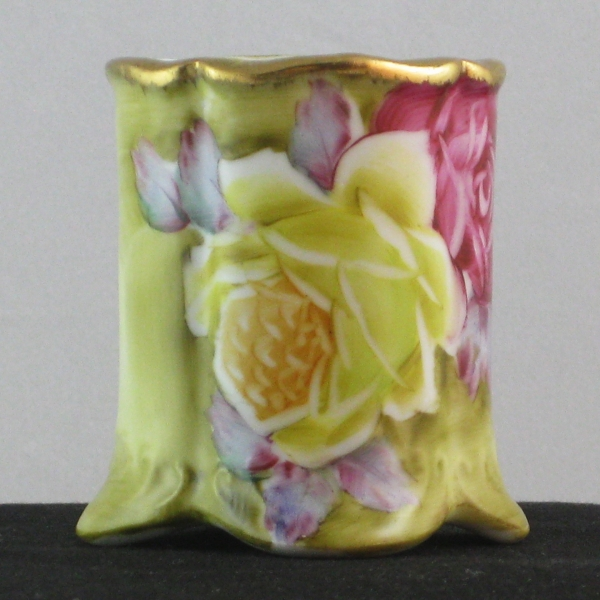 Nippon Hand Painted Roses Gold Gilt Toothpick Holder