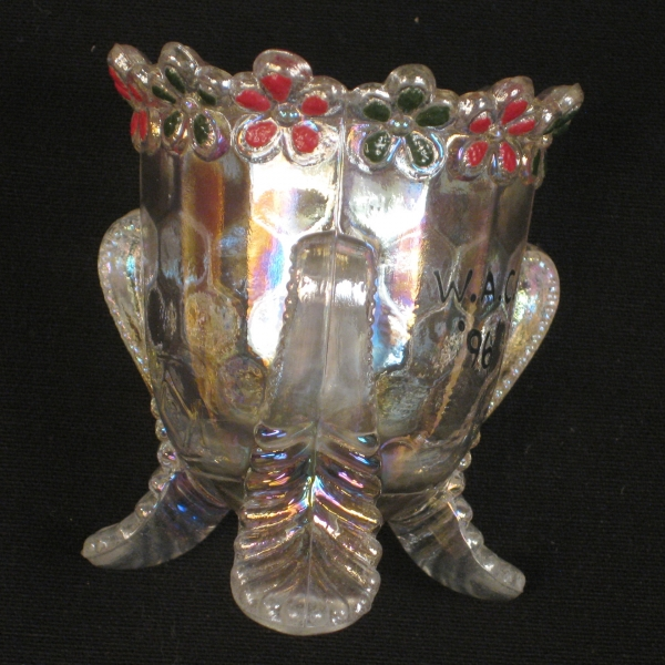 Boyd Art Glass Crystal Decorated Forget Me Not Carnival Glass Toothpick Holder