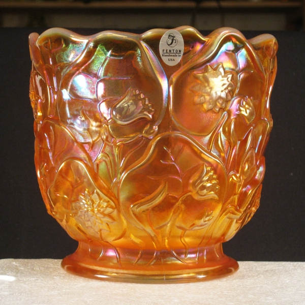 Fenton Marigold Opal Waterlily Carnival Glass Vase