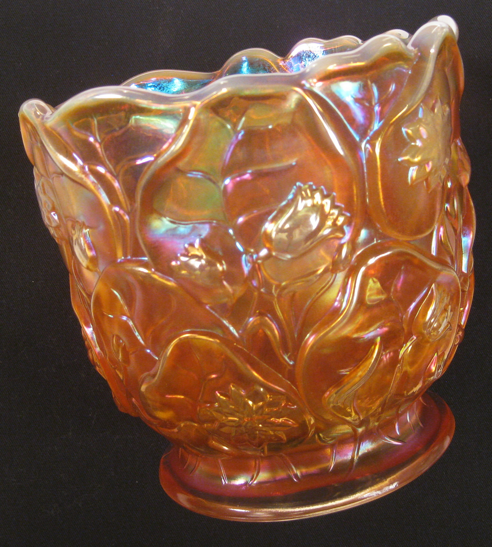 Fenton Marigold Opal Waterlily Carnival Glass Vase Carnival Glass