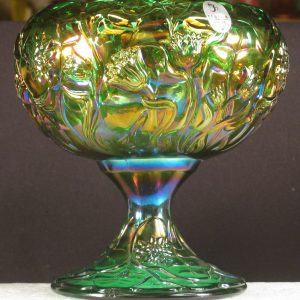 Fenton Green Waterlily Carnival Glass Compote Rosebowl