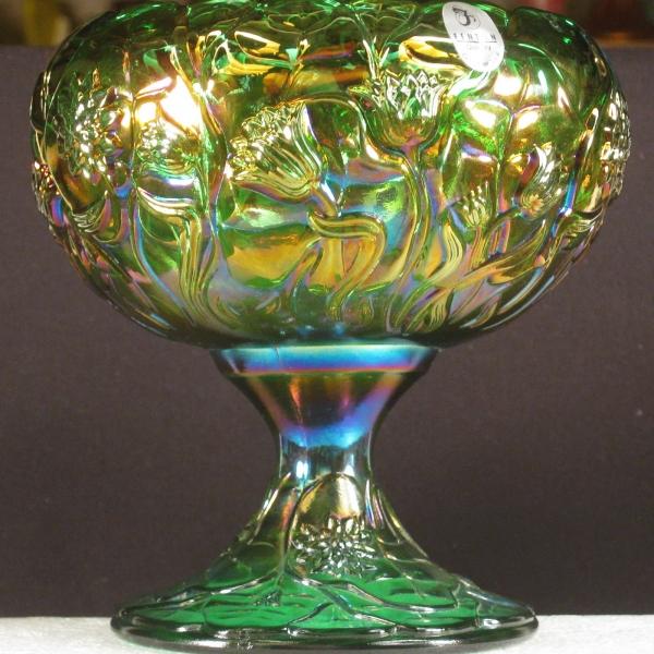 Fenton Green Waterlily Carnival Glass Compote Rosebowl