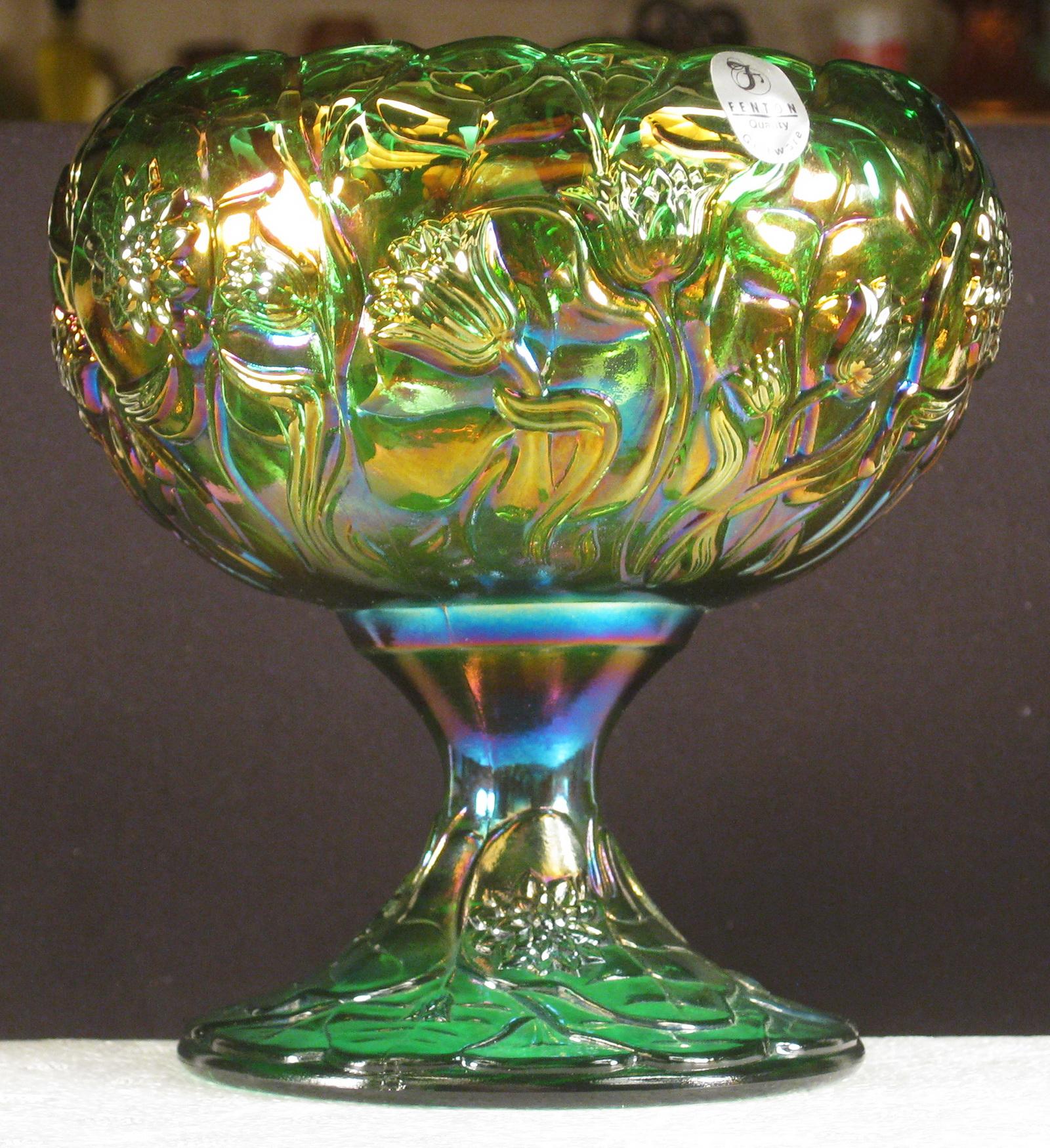 Carnival Green Glass Bowl