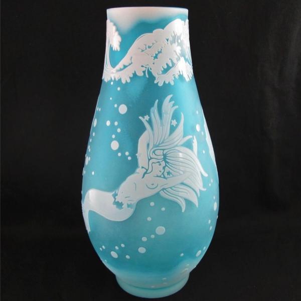 Kelsey Murphy Art Deco Mermaid Woman Bubbles Aqua Art Cameo Glass Vase