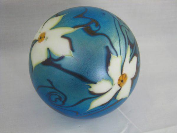 Vandermark Favrile Floral Art Glass Paperweight
