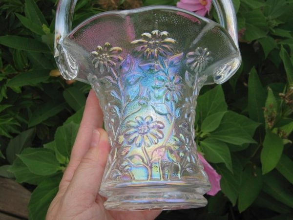 Imperial White Daisy Carnival Glass Whimsied Basket