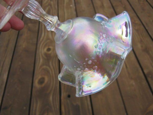 Fenton White Orange Tree Carnival Glass Ruffled Compote