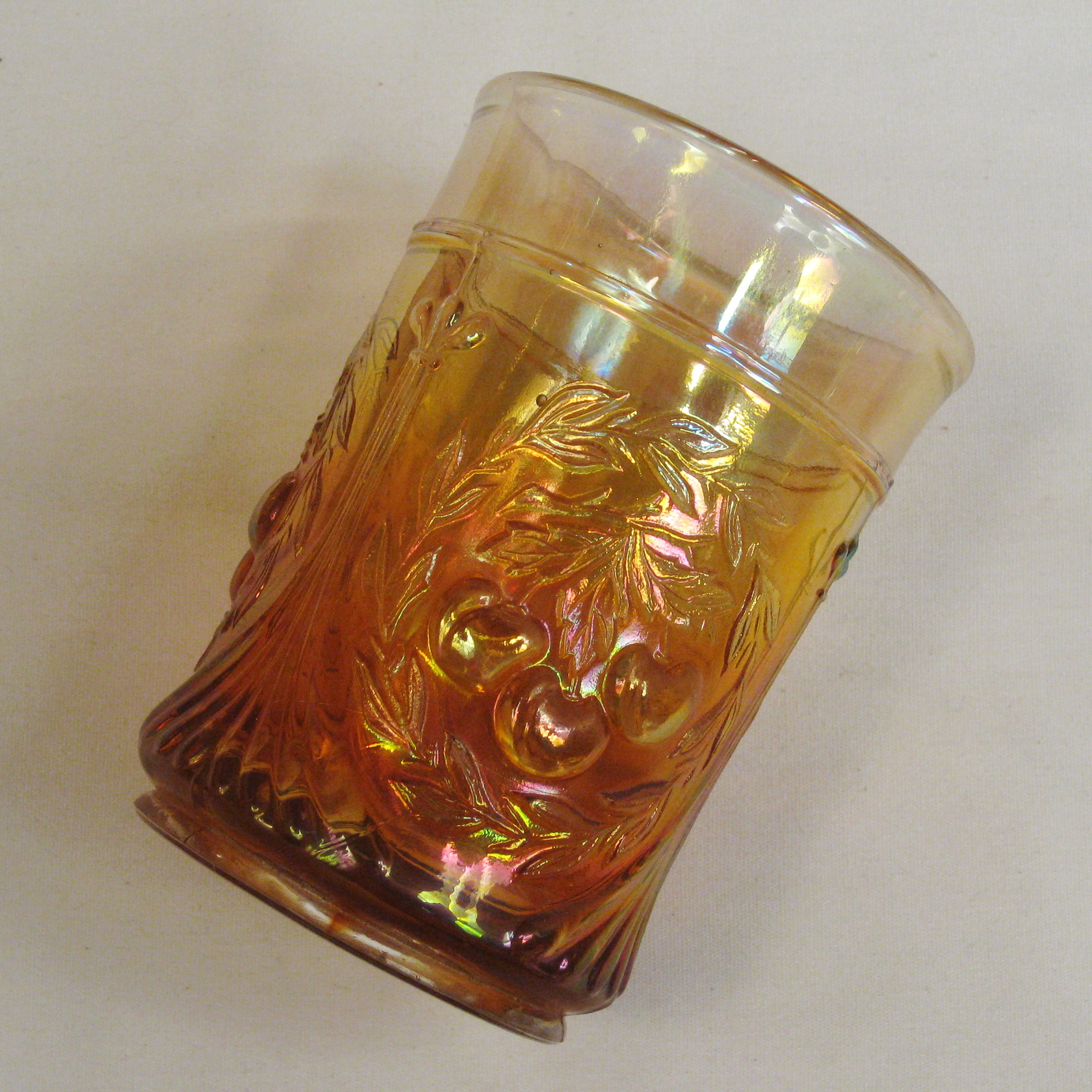 Antique Dugan Marigold Wreathed Cherry Carnival Glass