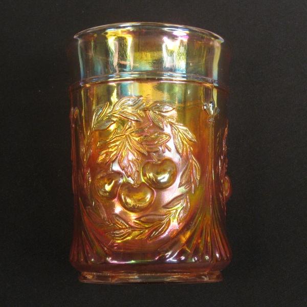 Antique Dugan Marigold Wreathed Cherry Carnival Glass Tumbler - RADIUM