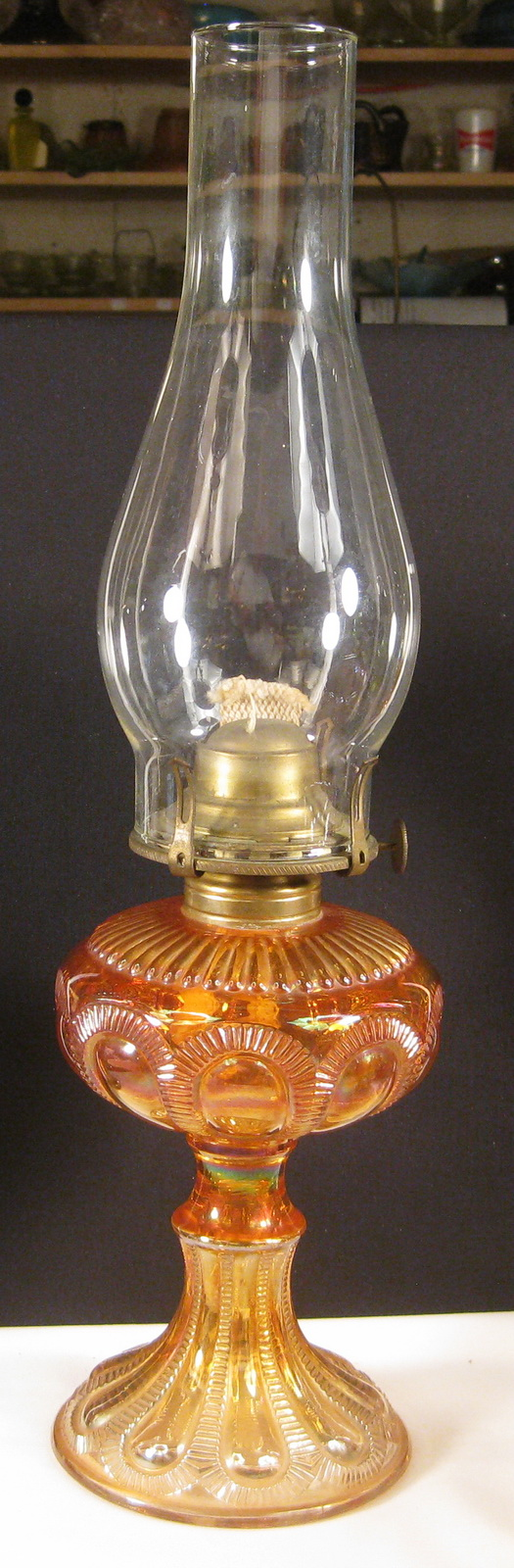 Imperial Marigold Zipper Loop Carnival Glass Oil Lamp